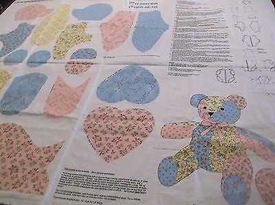 """""""Patchwork Teddy Bear"""" sewing fabric panel cut-out"""