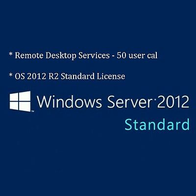 NEW Microsoft Windows Server 2012 R2 Standard User + 50 Remote Desktop User CALS