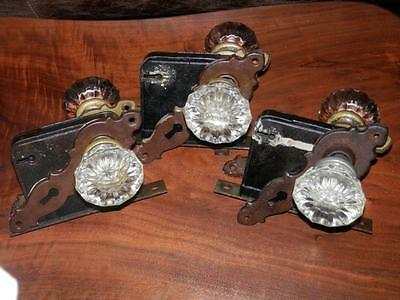 Antique 3 Crystal Door Knob Sets With Cast Iron Lock Boxes And Steel  Plates