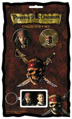 PIRATES OF THE CARIBBEAN COLLECTOR SET Keychain+2 x Badges+Patch NEW MERCH