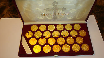 Franklin Mint-Life of Christ-- Gold Plated & Sterling Silver Sets-25 Coins Each