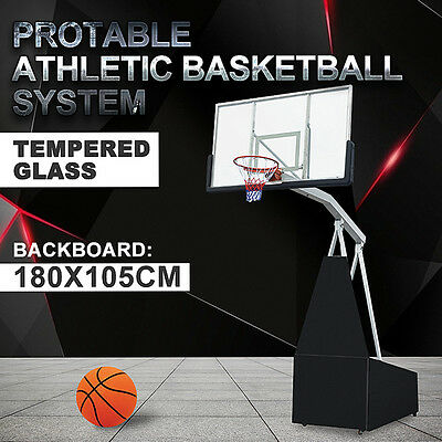 Athletic Portable Basketball Ring System 180x105cm Tempered Glass Backboard