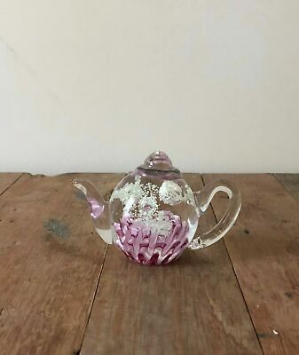 New Glass Teapot Glow in Dark Pink Base White Explosions Paperweight