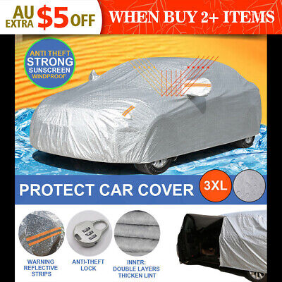 Aluminum waterproof Double thicker car cover rain resistant UV dust 3XL