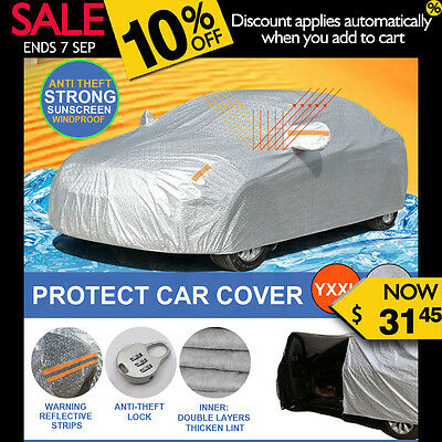Aluminum waterproof Double thicker car cover rain resistant UV dust YXXL
