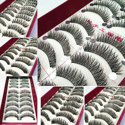 Long Thick Cross 10 Pairs Makeup Beauty False Eyelashes Eye Lashes Extension 12f