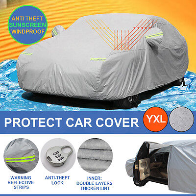 Double thicker waterproof car cover rain resistant UV dust protect YXL
