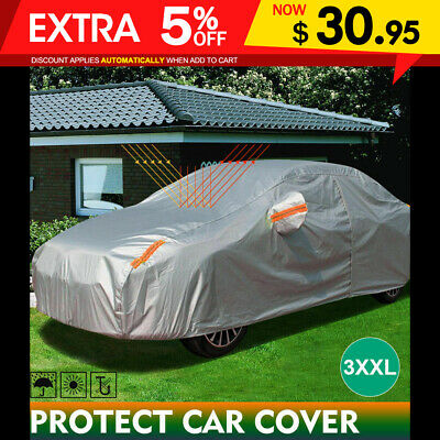 Double Thick Waterproof Car Cover Water Resistant Rain UV Dust Protection 3XXL