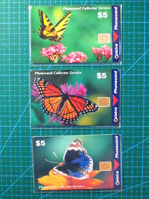 Set 3x NEW TELSTRA Plastic Phonecards - Butterflies in the Wild (1998/99)