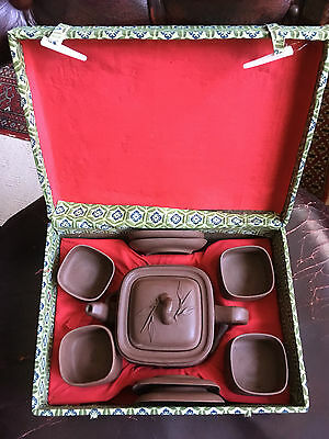 Beautiful Boxed Chinese 4-person Brown Clay 10 piece Tea set with tea pot