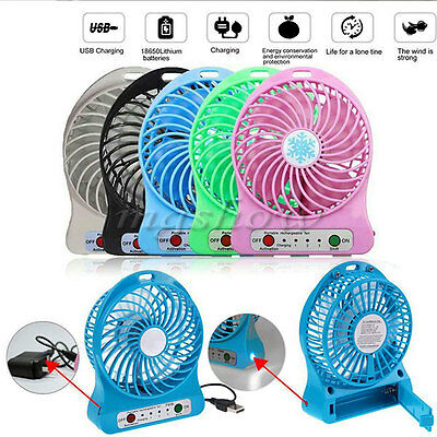 Portable Rechargeable LED Fan air Cooler Mini Operated Desk USB Battery USB Fan