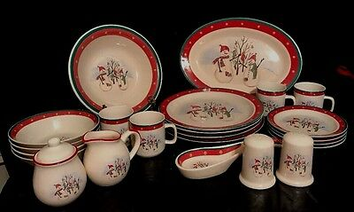 Royal Seasons Stoneware SNOWMAN Christmas Dishes = 21 Pieces