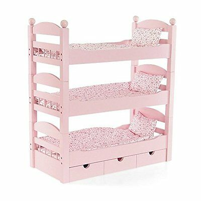 18 Inch Doll Triple Bunk Bed - Stackable Wooden Furniture Made to Fit America...