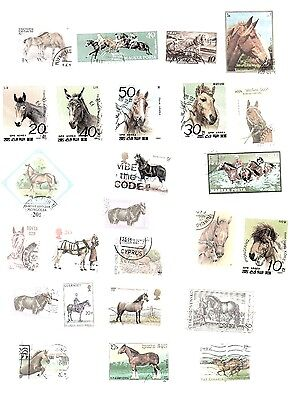 Horses on Stamps 50 All Different and Off Paper