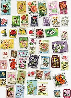Flowers on Stamps 100 All Different and Off Paper