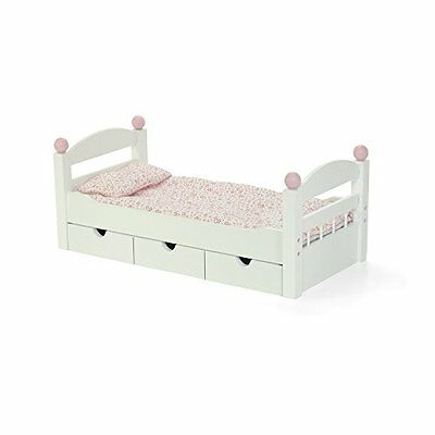 18-inch Doll Furniture | STACKABLE White Trundle Bed with Bedding | Fits Amer...
