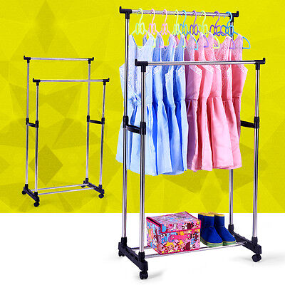 ADJUSTABLE STAINLESS STEEL DOUBLE CLOTHES RACK HANGER CLOTH GARMENT DRYER Home