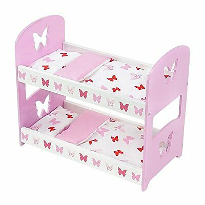 18 Inch Doll Furniture | Lovely Pink and White Bunk Bed with Beautiful Butter...