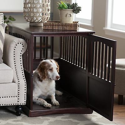 Dog Crate End Table Kennel Cage Bed Night Stand Wood Furniture Espresso Medium