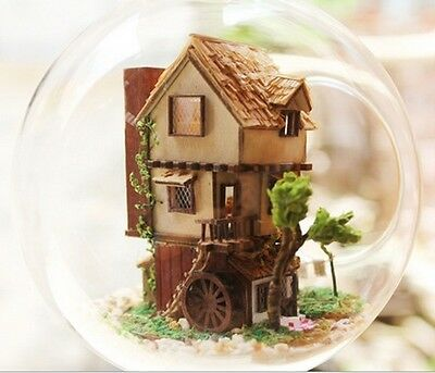 Kit w/ LED Wooden Dollhouse Miniature DIY House Dream of Forest Xmas Gift