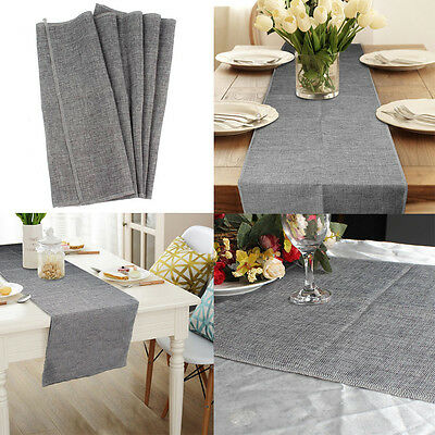 35x122CM Imitated Linen Faux Burlap Table Runner Wedding Party Home Decor Grey