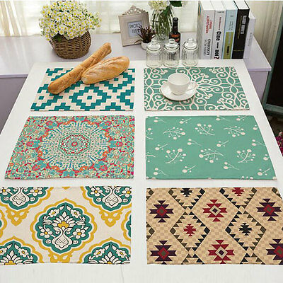 Table Mat Printing Linen Western Mat Tableware Pads Table Protector Desk Cover