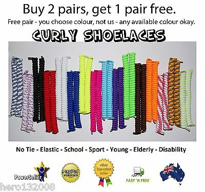 Curly Elastic Shoe Laces No Tie Shoelaces School Sport Disability Kids