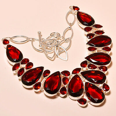 Beautiful Faceted Mozambique Garnet 925 Silver Necklace Jewelry 520CTS By Superi
