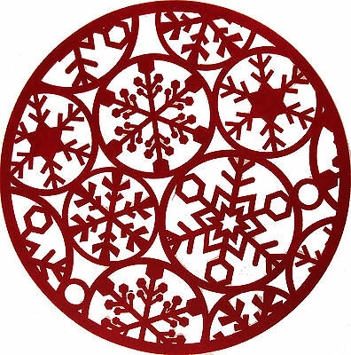 Set Of 8 ROUND Red Felt Christmas Fancy Cut Dinner Table Place Mats