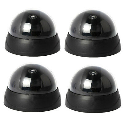 4x Dummy Flashing Light Home Surveillance CCTV Security Dome Fake Camera