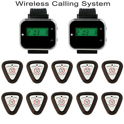 New Restaurant Wireless Paging System Watch Receiver Guest Calling Button Pager