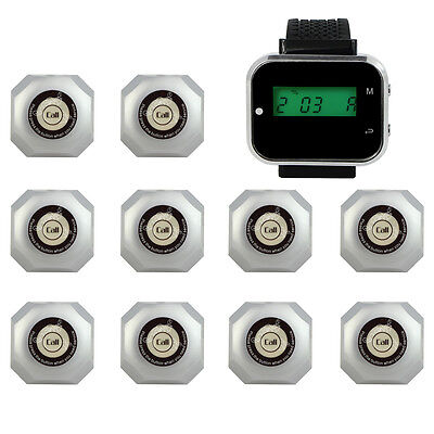 Wireless Waiter Paging Queue Service System Watch Receiver Calling Button Pagers