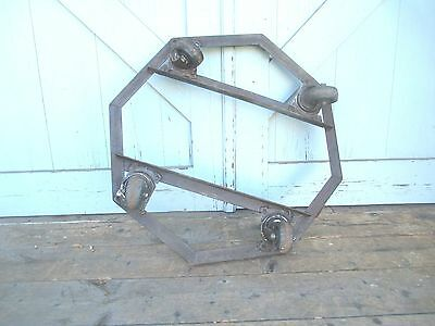 rare PLANT STAND on wheels MODERN octagon dolly STEM PUNK old MID CENTURY