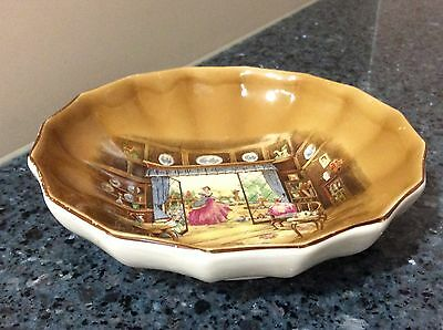 Lancaster & Sons Hanley Pin/Butter Dish with House Scene Made in England