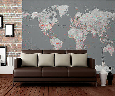 315x232cm Hudge wall mural photo wallpaper Silver Map of the World - FAULTY