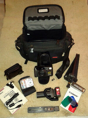 1 PENTAX ZOOM 280-P & 1 NIKON COOLPIX & A COBRA BAG ~ With Sundry Peripherals