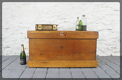Large Victorian Pine Blanket Box / Chest / Trunk - Great Coffee Table Size