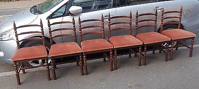 Set of six oak framed wide seated ladder backed dining chairs possibly Webber