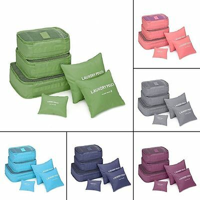 6 Pcs Clothes Underwear Socks Packing Cube Storage Travel Luggage Organizer Bag#