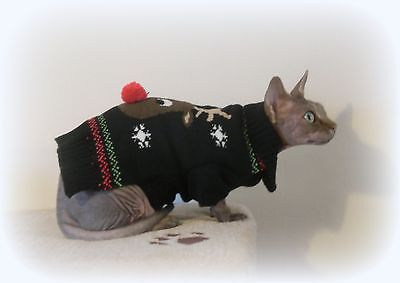 CHRISTMAS winter Sphynx cat clothes sweater jumper Katzenbekleidun, Nacktkatze