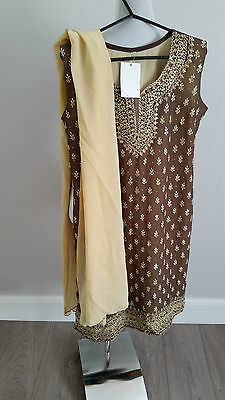 Panjabi salwar scarf suit kameez indian party wedding anarkali lengha churidar
