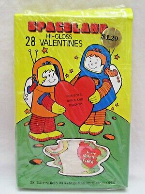 Vintage Box of Spaceland 28 Valentines with Envelopes Sealed New NOS Space