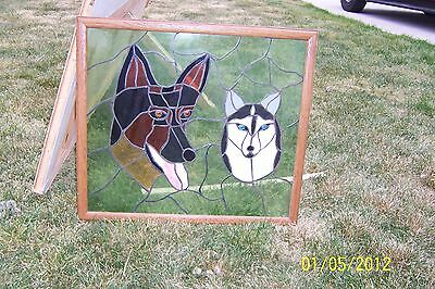 Stained Glass Window German Shepherd And Siberian Husky Dogs
