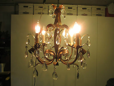 "Vintage Italian Tole 4 Light Gilt Hanging Chandelier 16""w 16""h W/crystal Prisms"
