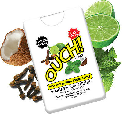 Ouch Organic Instant Herbal Sting Relief Spray 20ml   FREE SHIPPING