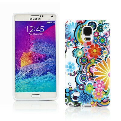 Gel Case + Car Charger + more for Samsung Galaxy Note 4 - Circles With Flowers