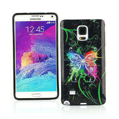 Gel Case + Car Charger + more for Samsung Galaxy Note 4-Black Graffiti Butterfly