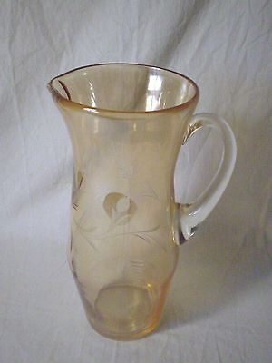 """TALL 10.5"""" AMBER COLOURED OPALESCENT GLASS JUG with ETCHED DESIGN"""