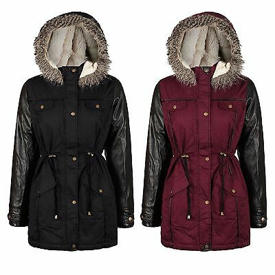 NEW Girls Kids Hooded Faux Fur PARKA JACKET COAT BURGUNDY / BLACK With AGE 7-13
