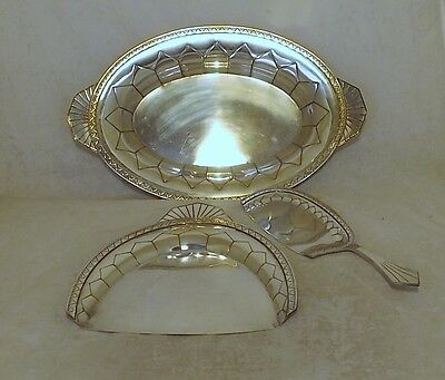 Fabulous Original French Art Deco Silver Plated Crumb Scoop With Matching Bowl